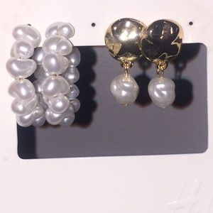 H&M Pearl Hoops and Gold Pearl Studs